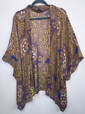 Chacha Vente Large L Paisley Abstract Open Fly Away Topper Jacket Cardi CuTe!