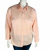 New Lauren Ralph Lauren Womans Button Front Shirt Pink Plus Sz 1X NWT