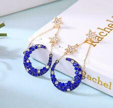 Blue Betsey Johnson Moon Star Dangle Earrings Girl Fashion Wedding Party Jewelry
