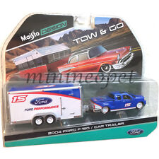 MAISTO TOW & GO 2004 FORD F-150 PICK UP w CAR TRAILER 1/64 CHASE WHITE WHEELS