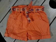 Short uni orange abricot + ceinture brodée fleurs KIDKANAÏ Taille 4 ans / 104 cm