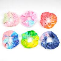 Rainbow Soft Velvet Scrunchies Tie-dye Hair Ring Rubber Band Elastic Hair Rope N