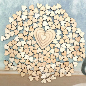 100pcs 4 Sizes Mixed Rustic Wooden Love Heart Wedding Table Scatter Deco