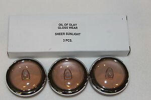 Lot of 3 Oil of Olay Gloss Wear SHEER SUNLIGHT Lip Shine .19 oz Made in Italy