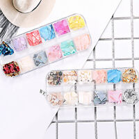 12Colors Nail Sequins Manicure Crushed Shell Stone Powder Acrylic UV Gel Tips