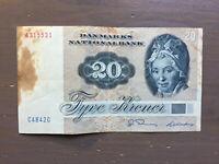 20 Kronen Old Banknote Denmark 1972 Paper Money Old Rare Vintage