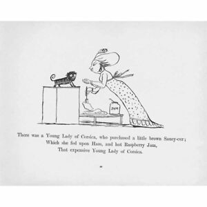 EDWARD LEAR Limerick - There Was a Young Lady of Corsica - Antique print 1897