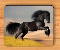 HORSE BLACK FRIESIAN GALLOPING #4 MOUSE PAD -huj3Z