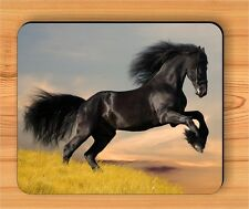 HORSE BLACK FRIESIAN GALLOPING #4 MOUSE PAD -huj3Z