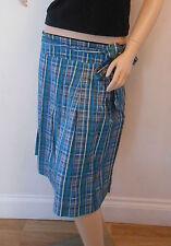 TOPSHOP Blue Green Striped Retro 40s Calf Length Flare Skirt Size 10 NEW NY3