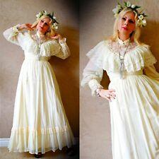 Vtg 60 Prairie VICTORIAN Romantic SHEER LACE Cape BOHO Hippie WEDDING Maxi Dress
