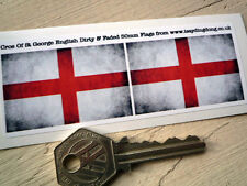 ENGLAND St Georges Cross Flag Dirty & Faded pair of 50mm Car/Motorcycle Stickers