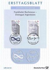 Rfg 2010: Buchmesse/Borges! Ersttagsblatt Nr 2815 + Argentino Uscita! 20-08