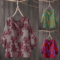 Belle Femme Shirt Haut Chemise Loose Floral Manche Loisir Simple Manche 3/4 Plus