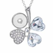 NEW White Crystal Alloy Pendant for Fit Noosa Necklace Snap Chunk Button DR186