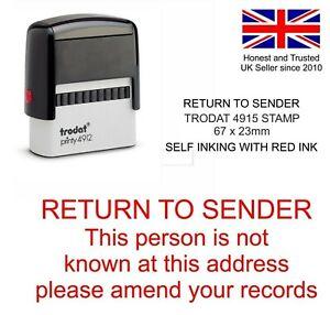 RETURN TO SENDER ADDRESS RUBBER STAMP STOP JUNK MAIL SELF INKING RED TRODAT
