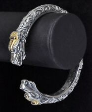 Konstantino Hinged Dragon Head Bracelet Sterling Silver 18K Gold Gaia New