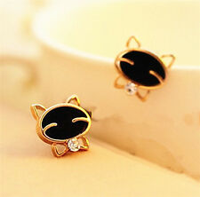 Korean black cat, stud earrings, smiley face, cat ear studs, earrings, female