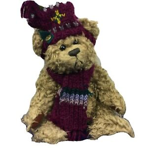 """Pickford Plush Brass Button Bear Dooley Knit Scarf Hat Jointed Stuffed Toy 10"""""""