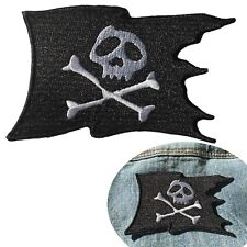 Pirate flag iron on patch torn flag skull bone embroidery heat transfer patches