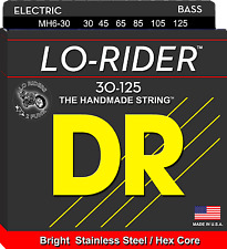 DR Strings MH6-30 LO-RIDER Stainless Steel Bass Guitar Strings, HEX Core - Mediu