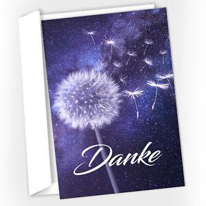 15 Trauer-Danksagungskarten Trauer-Karten mit Umschlag – Pusteblume lila Danke