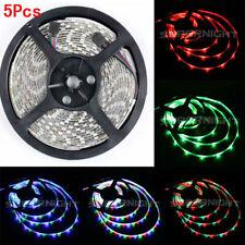 5Pcs Flexible 5M RGB 3528 LED Strip Light 300Leds Waterproof For Hom Decoration