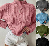 Women Casual Warm Crew Neck Long Sleeve Chunky Knit Sweater Pullover Jumper Tops