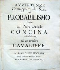 1744 – LECCHI, AVVERTENZE CONTRAPPOSTE ALLA STORIA DEL PROBABILISMO – TEOLOGIA