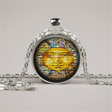 Sun Necklace Glass Tile Necklace Sun Jewelry Celestial Jewerly Glass Pendant