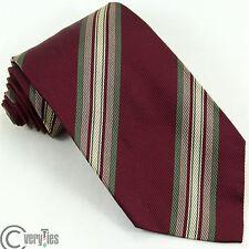 Cravatta ROCCOBAROCCO Bordeaux Verde Righe 100% Seta Made in Italy Tie silk