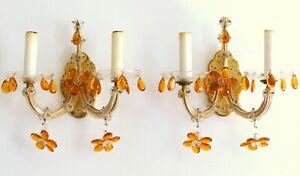 Vintage Pair Italian Sconces Wall Light Murano Flowers Drops Prism 1930 Venitian