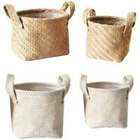 Woven Storage Basket Hemp Rope Flower Pot Dirty Clothes Laundry Hamper With Q3X5