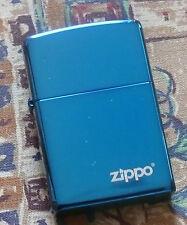 PLAIN SAPPHIRE LOGO ZIPPO LIGHTER FREE P&P FREE FLINTS