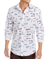 INC Mens Shirt Classic White Size Medium M Button Down Scribble Print $65- 198