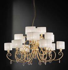 Lampadario classico di design foglia oro con paralumi BELL elena 3023/L15L