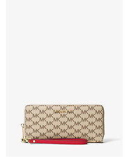 Michael Kors Jet Set Travel Signature Continental Wallet Wristlet (Natural/Red)