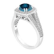 PLATINUM 1.57CARAT ENHANCED FANCY BLUE DIAMOND ENGAGEMENT RING HALO BRIDAL RING