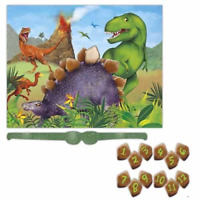 Dinosaur Birthday Party Game, Pin the tail style game, up to 12 players