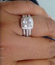 925 Silver Ladies 3 piece Wedding Engagement Cushion Cut Halo Bridal Ring Set