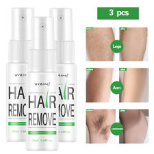 3 Pack 100% Natural Permanent Hair Removal Spray Stop Hair Growth Remover 20ml