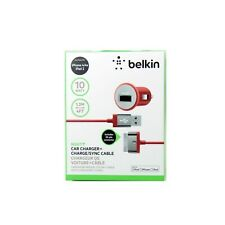 BELKIN CAR CHARGER FOR IPAD IPHONE IPOD 2.1AMP 10W 30 PIN CABLE F8J140BT04-RED