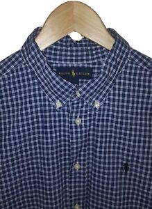 Polo Ralph Lauren Small Cotton Poplin Check Long Sleeve Shirt Navy Blue