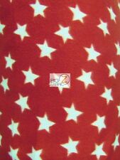 AMERICAN PRINT POLAR FLEECE FABRIC - RED/WHITE STARS - BY THE YARD DIY BLANKET
