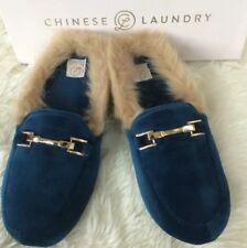 Chinese Laundry Slippers Velvet Size Small (5.5-6.5) Navy Cobalt Blue Slides NEW