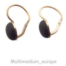 Biedermeier Gold Ohrringe Trauer Schmuck schwarz Jet earrings mourning jewellery