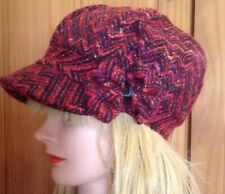 HOWARDS WOMENS PINK RED TWEED WOOL LINED w VISOR BOW CABBIE BERET NEWSBOY HAT