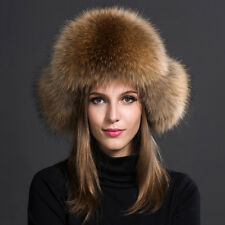 19c3a330156 Fashion Genuine farm raccoon fur hats Leather Bomber cap Women s Winter Ear  Warm