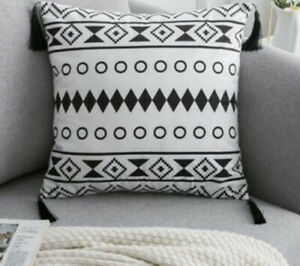 WHITE & BLACK SPOT Aztec Geo CUSHION COVER 45 X 45cm Print Room Decor Tassel