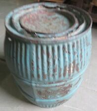 Antique Metal Canister Blue Color Pumpkin design kitchen grain storage Drum 1920
